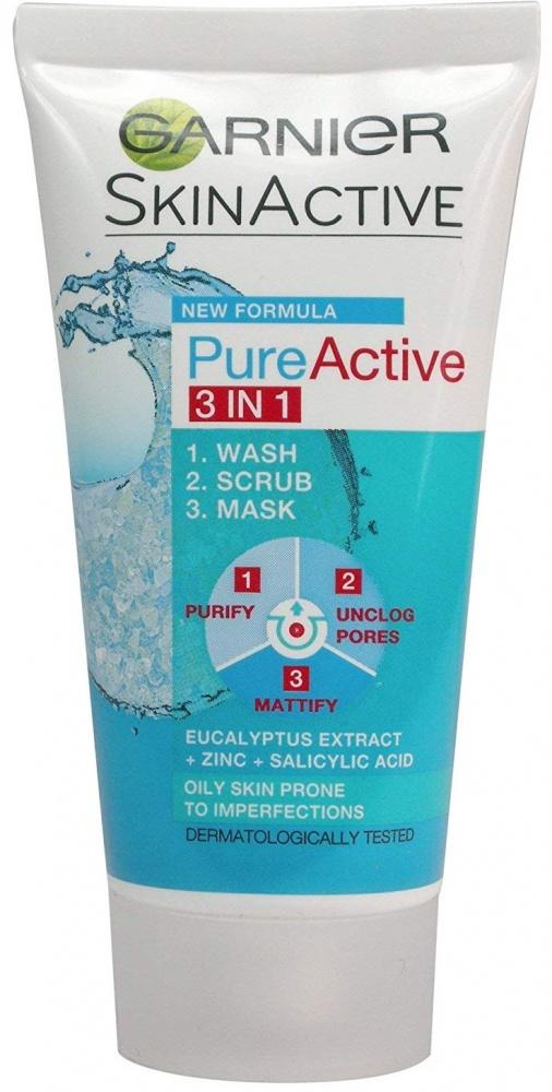 Garnier Pure Active 3 in 1 Face Wash Scrub Mask