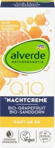Alverde Nočný pleťový krém Q10 s bio grapefruitom a bio rakytníkom rešetliakovým