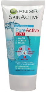 Garnier Pure Active 3 in 1 Face Wash Scrub Mask